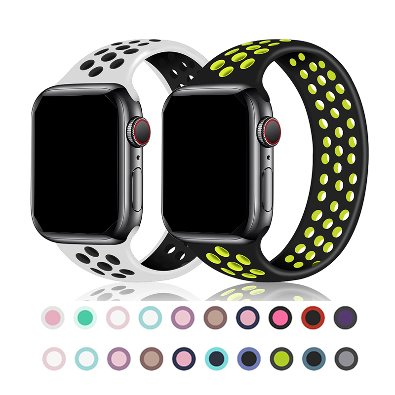 Band For Apple Watch 5 4 3 2 1 42mm 38mm 40mm 44mm Bracelet Silicone Strap For NIKE+ Iwatch Sports Series 5 4 Accessories