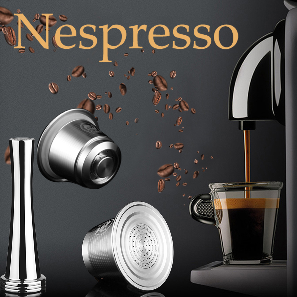 ICafilas For Nespresso Refillable Capsule Reutilizable Stainless Steel Reusable Capsules Coffee Filter Pod Coffee Tamper Spoon