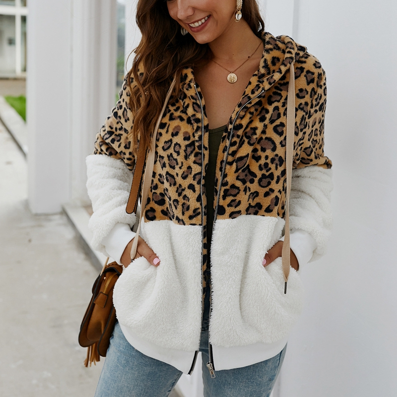 Autumn And Winter Large Size Women's Hoodie 4XL 5XL 6XL 7XL 8XL Fashion Leopard Stitching Zipper  Jacket Bust 128CM