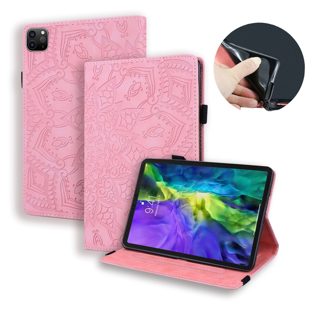 Generation 3D 4th Pro Case Folding Cover iPad For Flower 2020 Embossed Leather 12.9