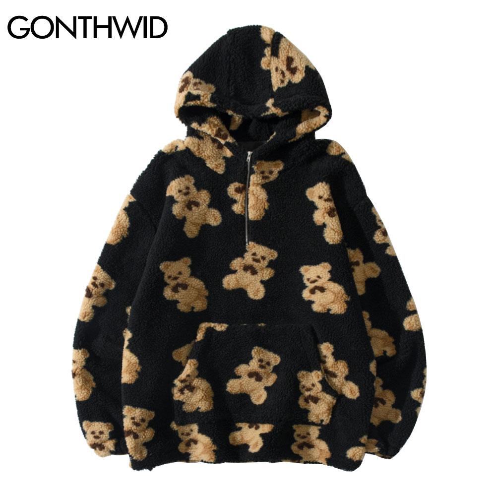 GONTHWID Fleece Hooded Sweatshirts Streetwear Hip Hop Bear Print Half Zipper Pullover Hoodies Harajuku Casual Tops Coats Outwear