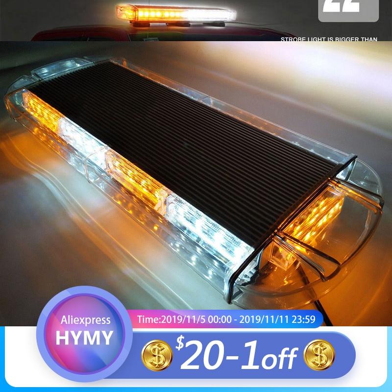 """37/"""" Amber White LED Strobe Light Bar Emergency Response Warn Traffic Adviser 36W"""