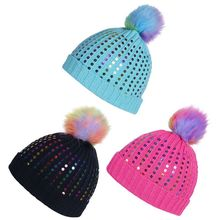 Womens Girls Chunky Ribbed Knit Beanie Cap Rainbow Fluffy Pompom Ball Colorful Sequins Embellished Winter Ear Warmer Cuffed Hat