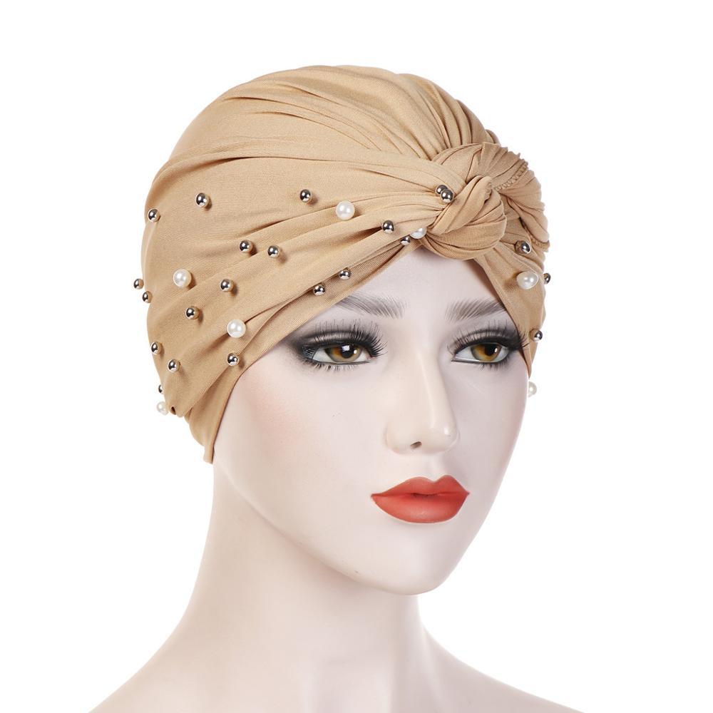 2019 New Fashion Pearl Muslim Ruffle Cancer Chemo Hat Head Scarf Turban Head For Women Warp Cap Hijab Islamic Chemtherapy Head C
