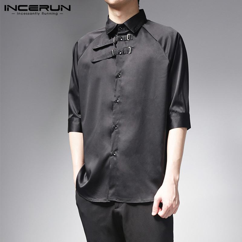 INCERUN Men Shirt Vintage Half Sleeve Lapel Solid Color Chic Tops Camisa 2020 Button Summer Streetwear Men Casual Shirts S-5XL 7