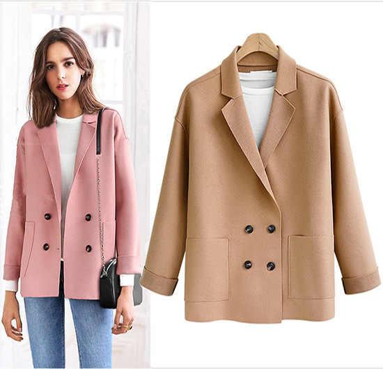 Blazer de mujer a la moda nuevo de mujer rebelde suelto doble transpirable abrigos de largo medio Camel negro chaqueta de mujer ropa de mujer