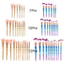 7/10/12pcs Professional Makeup Brushes Diamond Crystal Make Up Blending Brush Cosmetic Set Pincel Maquiagem