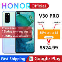 Honor V30 Pro Smartphone Google Play Kirin990 5G 7nm Octa core 128GB 256GB 16Core GPU 40mp Triple Cam 40W SuperCharge Android10