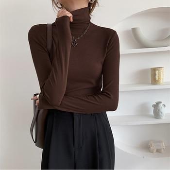 REALEFT 2021 New Autumn Winter Knitting Slim Turtleneck Sweater Solid Bottoming Long Sleeve Minimalist Women Pullover Jumper 2
