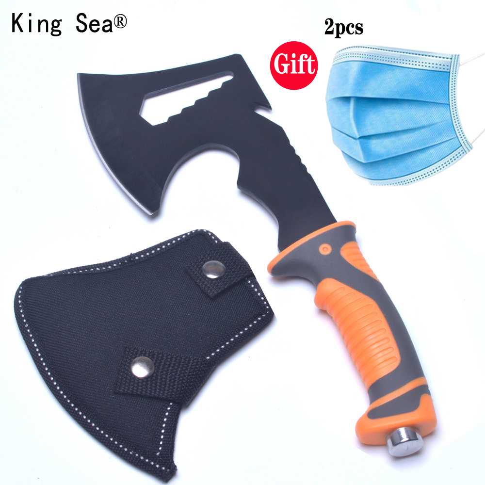 King Sea 2017 New  Survival Tomahawk Axes Hatchet Multifunction Camping Hand Fire Axe Boning Knife With Plascti Handle