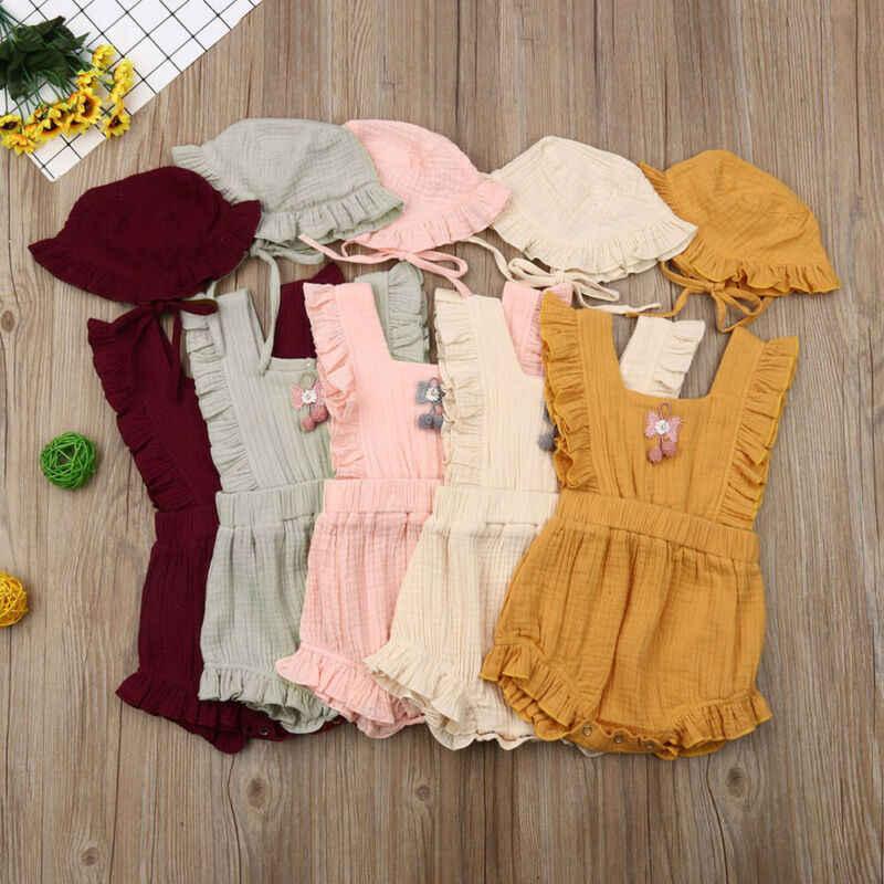 Детский комбинезон для новорожденных девочек от 0 до 24 месяцев, хлопковая гофрированная Роба, летние костюмы для маленьких девочек с шапкой, одежда для маленьких девочек