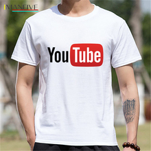 Teenage Youth Short Sleeve Tshirt Men Clothes YouTube Logo Print Cotton Funny T Shirt  Casual