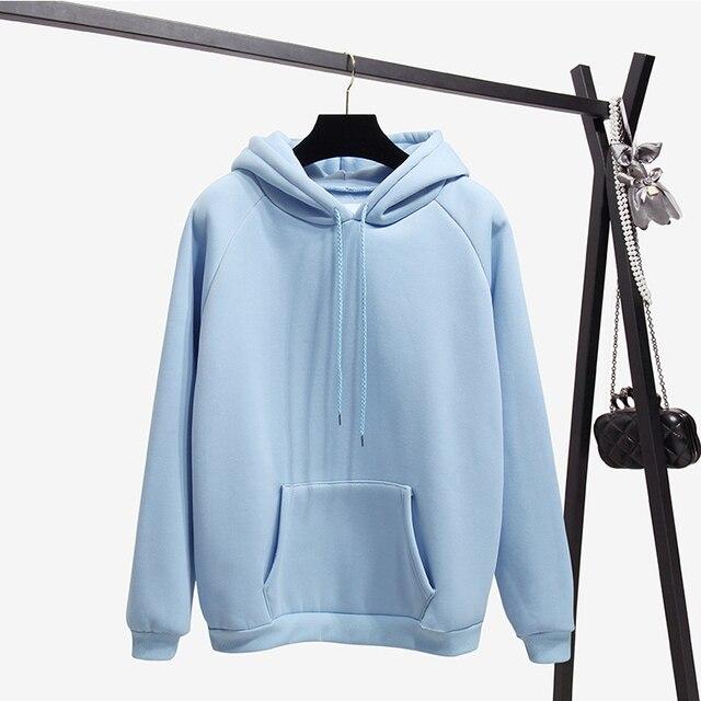 Ailegogo New Women Fleece Hoodies Lady Streetwear Sweatshirt Female White Black Winter Warm Hoodie Solid Color Outerwear 1