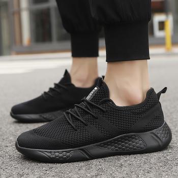Damyuan buty sportowe męskie buty męskie oddychające sneakersy męskie sznurowanie odkryte buty do biegania czarne buty dla mężczyzn obuwie męskie czarne tanie i dobre opinie Mesh (air mesh) CN (pochodzenie) RUBBER Lace-up Pasuje prawda na wymiar weź swój normalny rozmiar Podstawowe Wiosna jesień