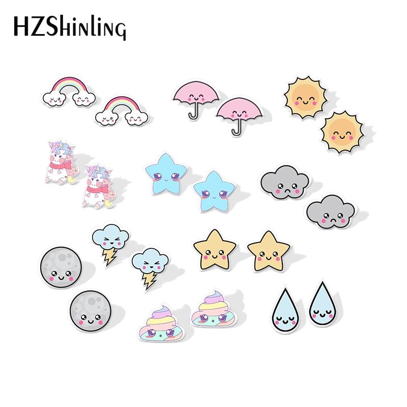 2019 New Smile Star Cloud Umbrella Acrylic Earring Weather Resin Earring Epoxy Shrink Dinks Earrings