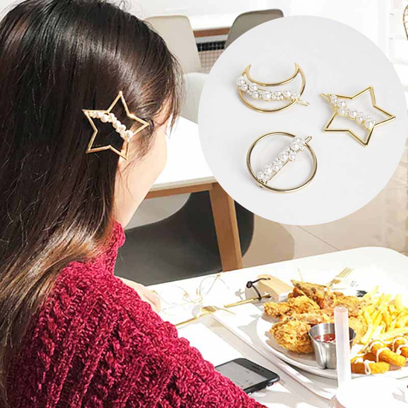 Fashion Cute mitiation Pearl Hairpins Hairclips for Women Star Moon Shape Metal Gold Color Barrettes Girls Hair Accessories