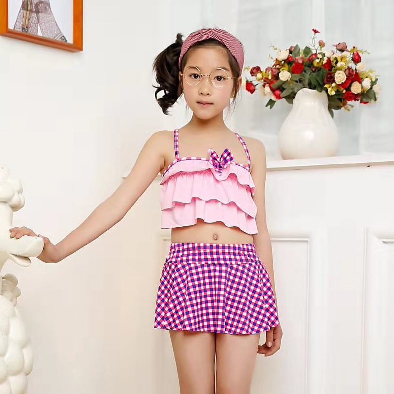 Set CHILDREN'S Swimwear GIRL'S Medium-sized Girls 1-12-Year-Old Cute Baby Split Type Hot Springs Swimwear Currently Available Wh