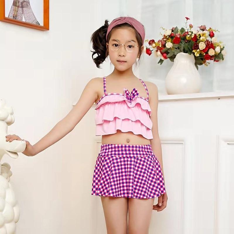 Set CHILDREN'S Swimwear GIRL'S Medium-sized Girls 1-12-Year-Old Cute Baby Split Type Hot Springs Swimwear Currently Available Wh
