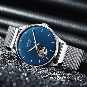 CADISEN New Mens Watches MIYOTA 82S0 Movement Top Brand Luxury Hollow out Automatic Mechanical Business Clock Blue Watch Men