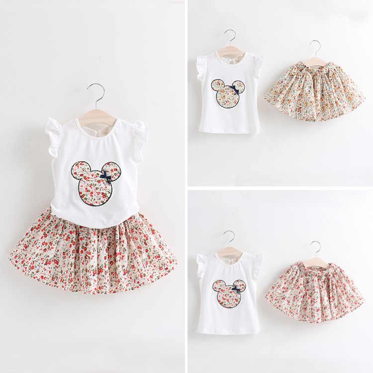 Детский комплект одежды из 2 предметов, летняя футболка и шорты с коротким рукавом и Микки Маус