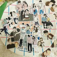 65PCS Ins Lovely Couples Daily Stickers DIY Scrapbook Bottom Collage Phone Computer Diary Gift Sealing Decoration Sticker