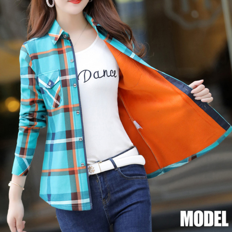 PEONFLY Plus Size Velvet Thick Warm Women Plaid Shirt Female Long Sleeve Tops 2019 Autumn Winter Casual Blouse Femme
