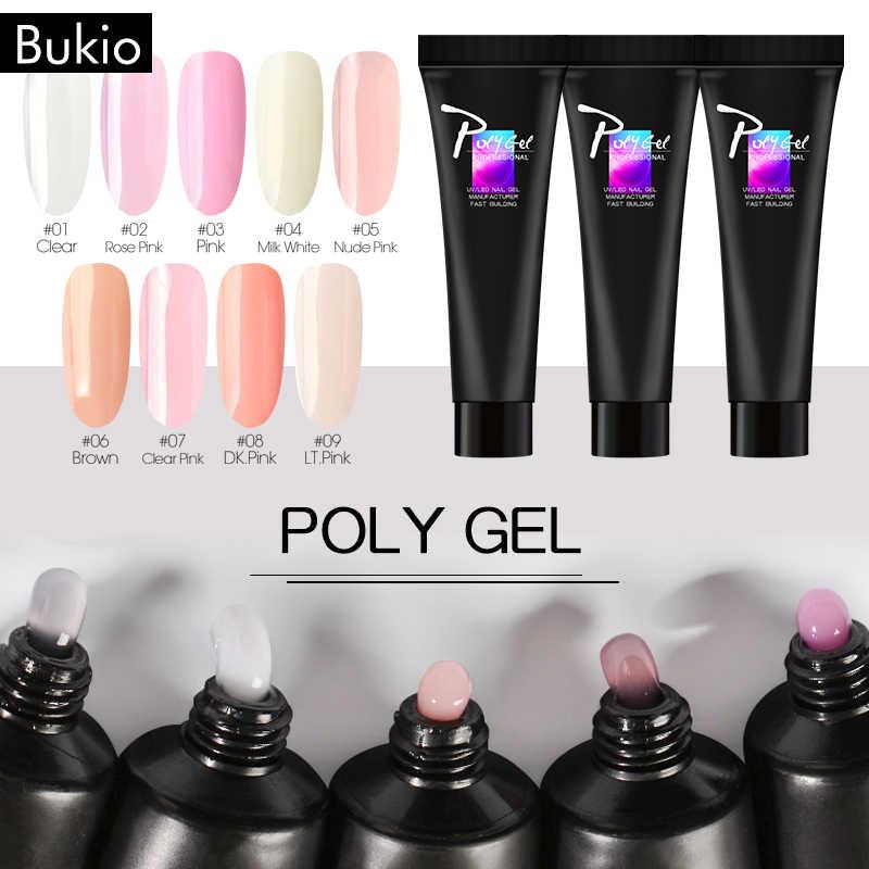 Bukio POLY เจลอะคริลิคเจลใสคริสตัลวุ้น Effect เล็บ GEL Varnish Soak Off UV Quick อาคาร Polygel เล็บชุด
