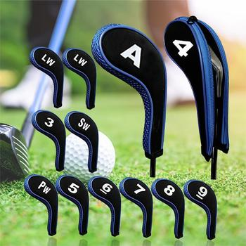 12Pcs Zippered Neoprene Golf Club Iron Cap Set Golf Headcover Protection Case Golf Training Aids Accessories With Number 1