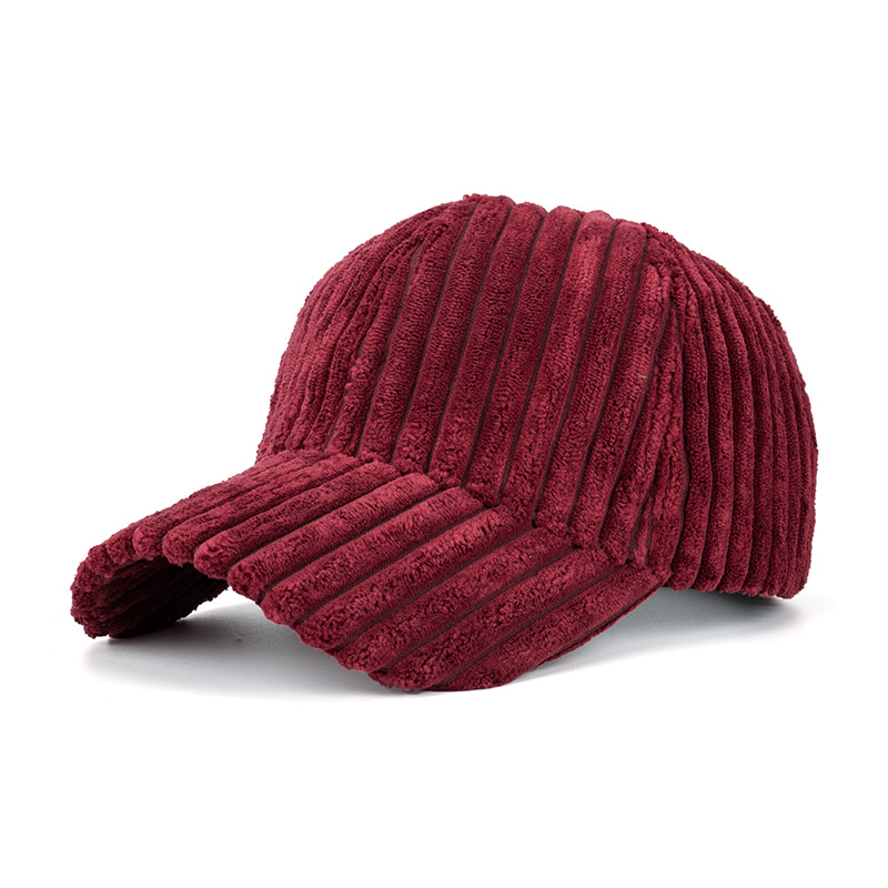 Striped Plain Corduroy   Baseball     Cap   Autumn Winter Women Mens Adjustable   Cap   Dad Hat Brown KHaki Pink Wine Red Grey