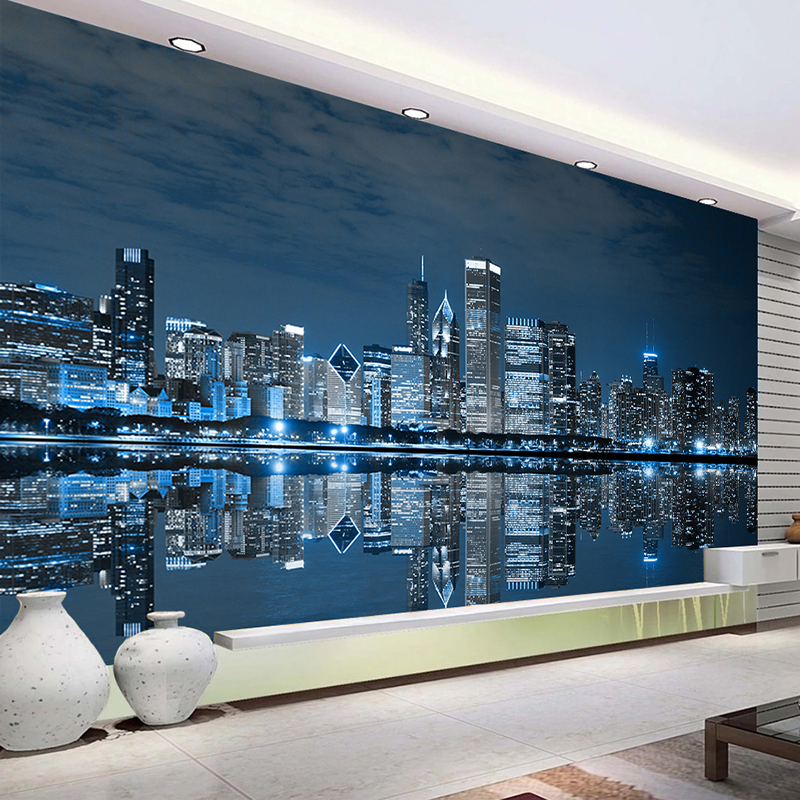 Custom Mural Wallpaper Black And White New York Night View City Building Study Living Room Sofa TV Background 3D Photo Wallpaper