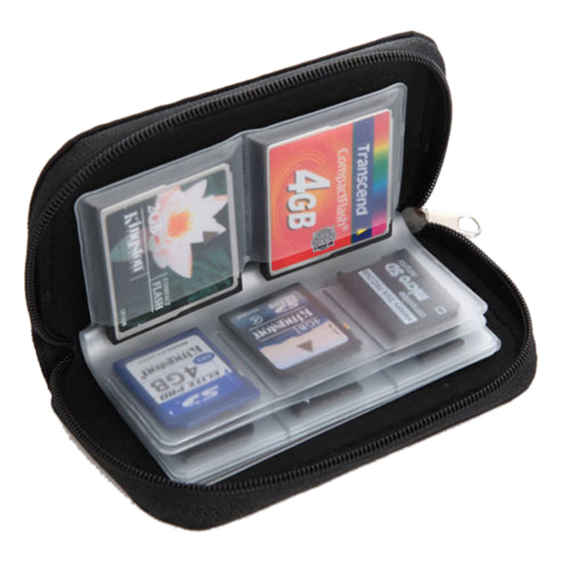 Memory Card Storage Case 22 Slots Wallet SDHC Holder SD Cards Carrying Bag Black