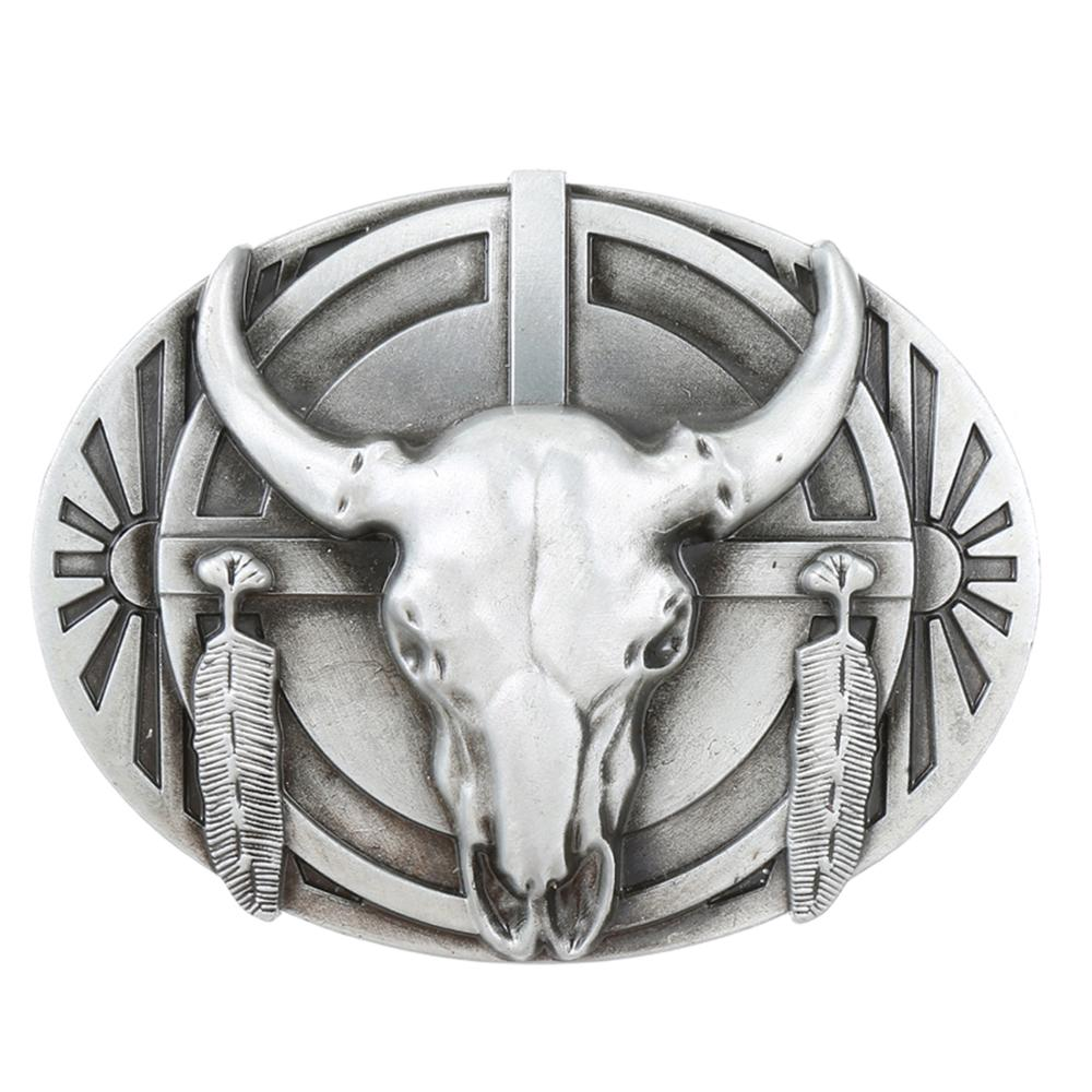 The New! ! 3D Bull Silver Copper Belt Buckle Western Metal Denim