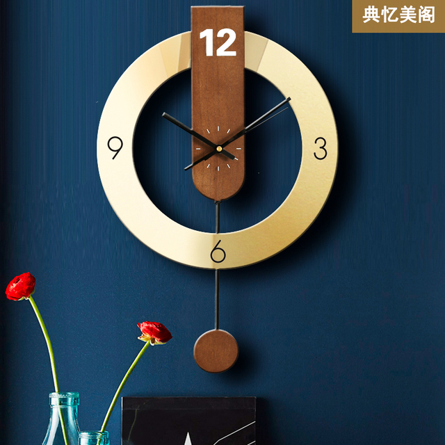 Grande Horloge murale de décoration 3d   Horloge murale de maison en métal, mécanisme dhorloge murale créative moderne en or Waood, Horloge murale cadeau FZ589