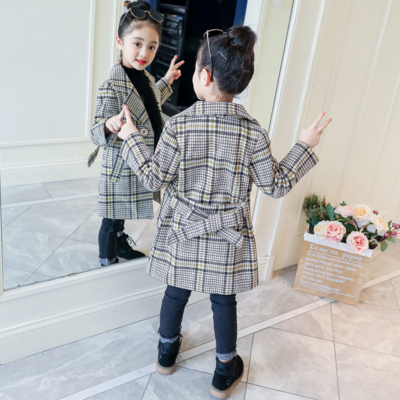 Kids Girl Overcoat Winter New Fashion Houndstooth Wool Coat For Girl Teens Autumn Jacket Long Thick Outerwear Children Windproof