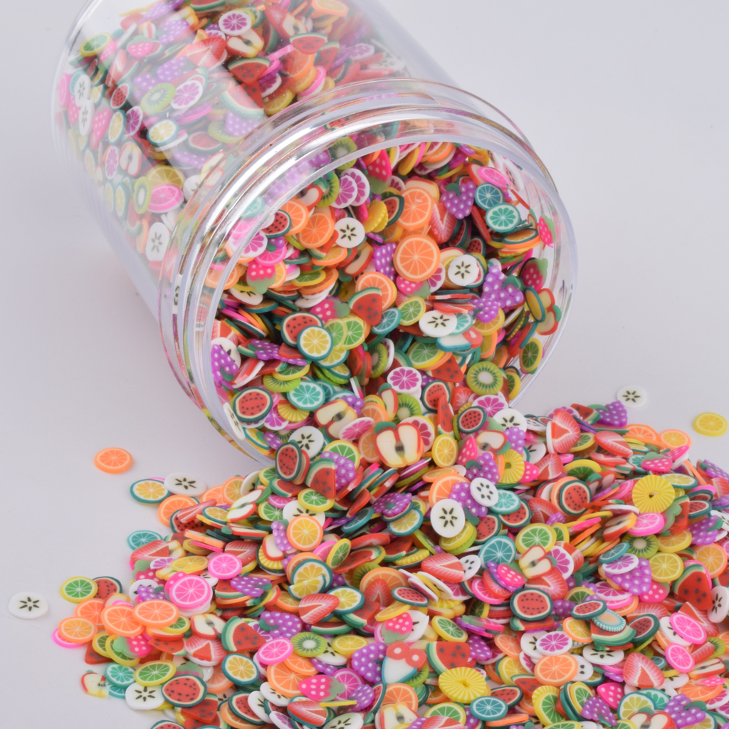 Clay Charms Slime Nail-Craft-Toys Putty Fimo-Slices Fruit Clear Polymer Sprinkles Addition