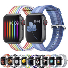 цена на Woven Nylon Replacement Band for Apple Watch Series 4 5 40mm 44mm Soft Strap for iWatch Series 3 2 1 38MM 42MM