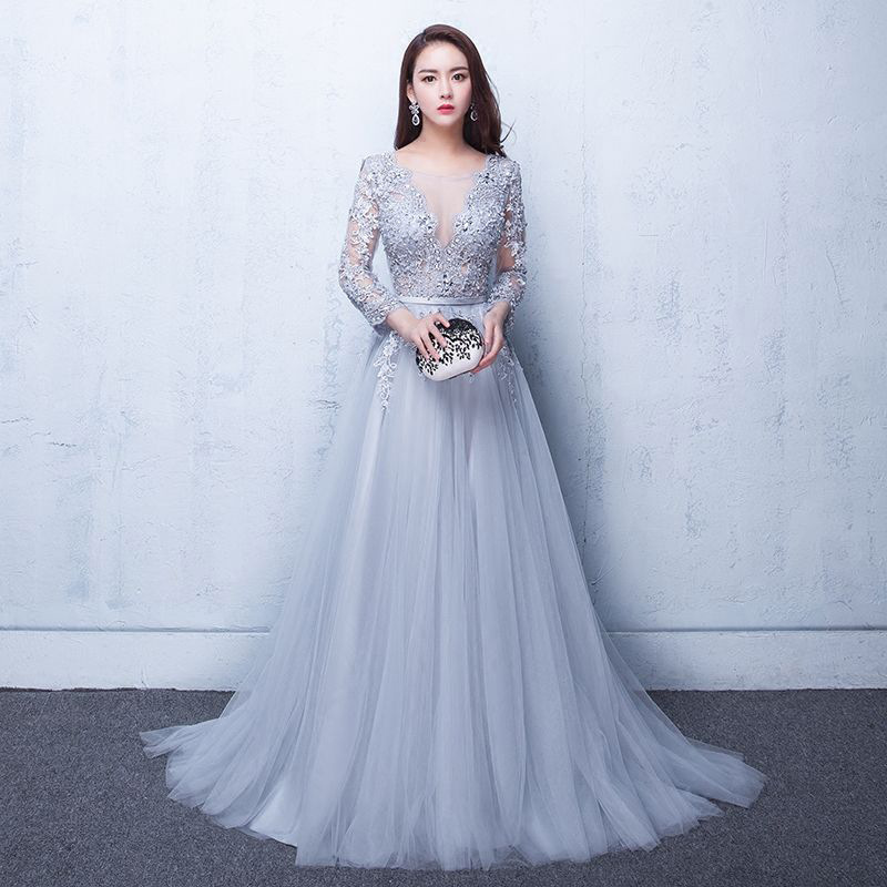 Mrs Win Formal Evening Dress Long Luxury Court Train A-line Full Sleeve Sexy Illusion Party Prom Evening Dress