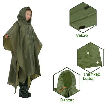 Przenośny wielofunkcyjny 3 w 1 płaszcz przeciwdeszczowy Camping płaszcz przeciwdeszczowy Poncho mata markiza trwała aktywność na świeżym powietrzu sprzęt przeciwdeszczowy Supplie tanie i dobre opinie CAMPSLE Kieszeń Multi Tools Multifunctional poncho mat Poncho back special design can be used as raincoat mat awning reduce the burden on travel