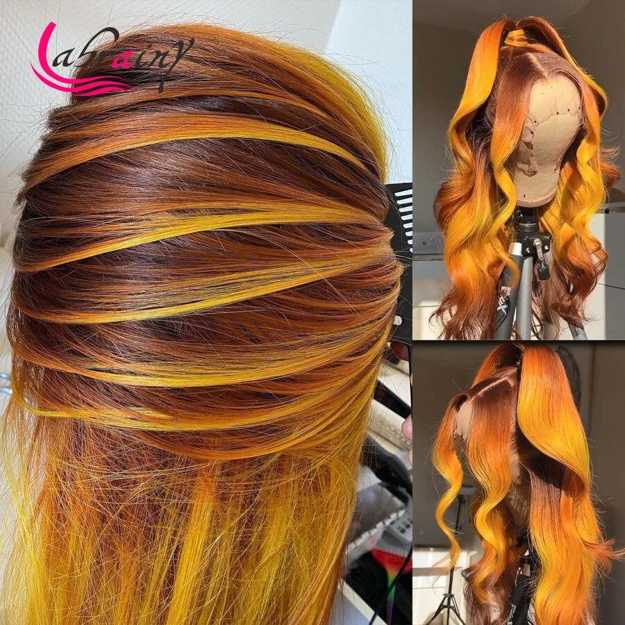 Выделите имбирь 13x6 застежка Синтетические волосы на кружеве парики с эффектом деграде (переход от темного к оранжевый HD Синтетические воло...