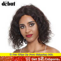 Debut L Part Curly Human Hair Wigs For Women Natural Color Lace Front Short Hair Wigs Remy Brazilian Women's Hair Wigs Bob Wigs