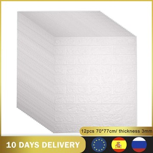 Image 1 - 12pcs 3D DIY Decor Home Brick Wall Stickers Living Room Waterproof Foam Room Adhesive Sticker Wallpaper Made Decals For Kitchen