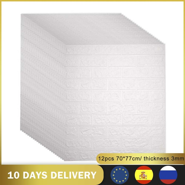 12pcs 3D DIY Decor Home Brick Wall Stickers Living Room Waterproof Foam Room Adhesive Sticker Wallpaper Made Decals For Kitchen