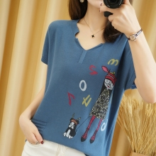 Pure cotton T-shirt 2021 summer new casual knitted sweater short-sleeved women's v-neck pullover plus size top tees