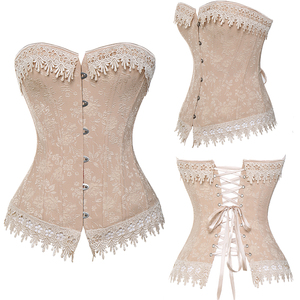 Image 3 - Lace Up Corsets Bustiers Overbust Waist Trainer Embroidery Sexy Boned White Beige Corset Burlesque Costumes Corselet Halloween
