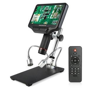 Câmera microscópica digital de alta definição, 270x 1080p andonstar ad407, câmera microscópio biológico para solda com tela 3d de 7 Polegada e suporte