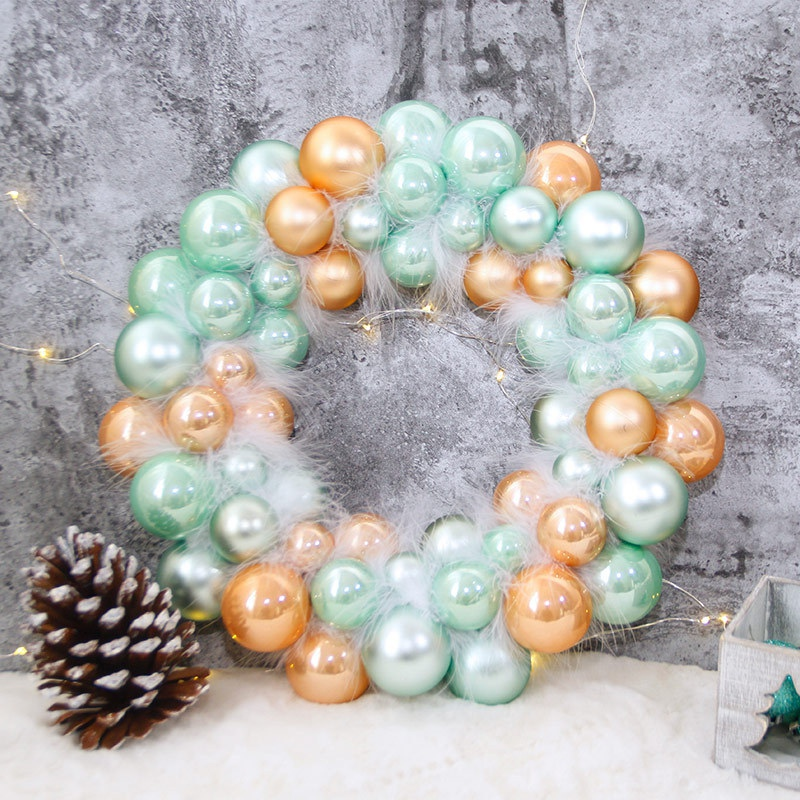 New 1pc Christmas Ball Wreath Garland With Feathers Holiday Home Wall Decor Wedding Decoration Festive Supplies in Pendant Drop Ornaments from Home Garden