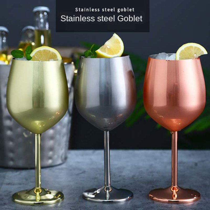220/500ml Stainless Steel Champagne Cup Wine Glass Cocktail Glass Creative Metal Wine Glass Bar Restaurant Goblet Rose Gold