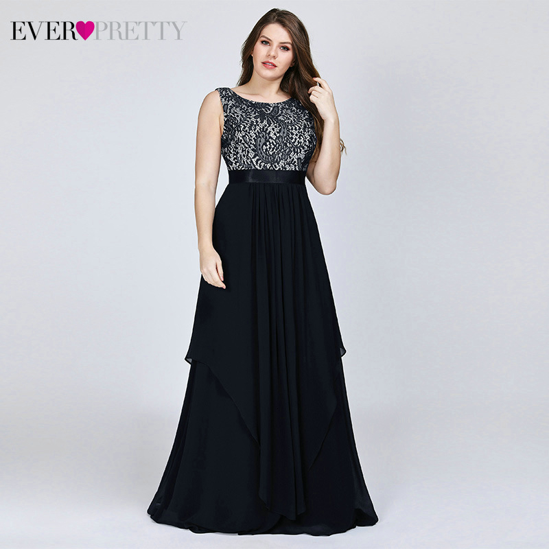Plus Size Lace Bridesmaid Dresses Ever Pretty EP08217 A-Line O-Neck Sleeveless Elegant Chiffon Wedding Party Gowns Vestidos