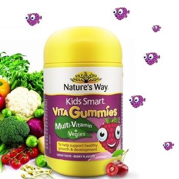 Nature Way Kids Smart Omega 3 DHA Fish Oi Vita Gummies, suplemento para la gripe fría, saludable, para el desarrollo del cerebro y del sistema nervioso