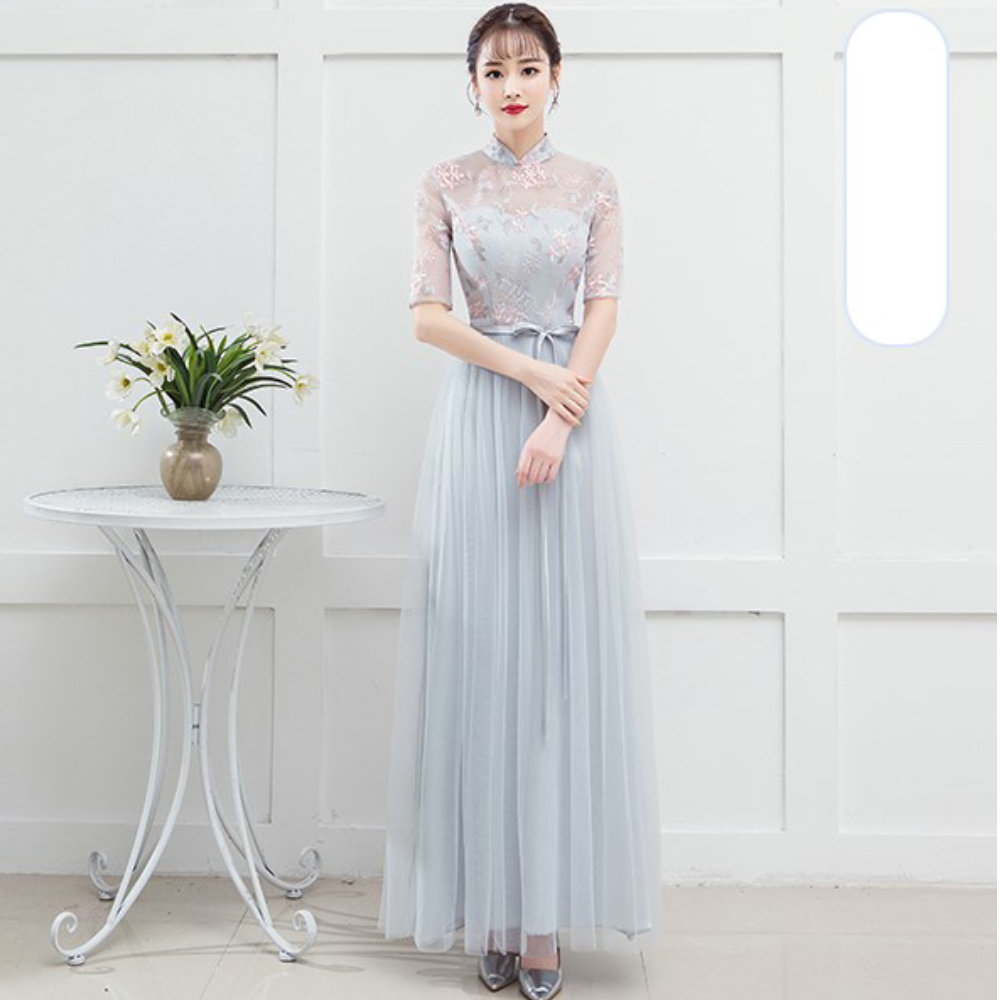 Blue Grey Adult Women Bridesmaid Dresses  Wedding Guest Dress  Embroidery  Empire Back Of Bandage Wedding Party Sexy Prom Dress